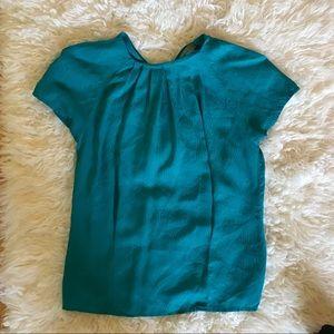 CHAUS 100% Silk Pleated Blue Swirl Career Blouse